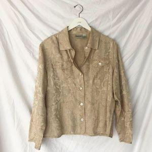 Vintage Tops - Vintage Cream Silk Blouse